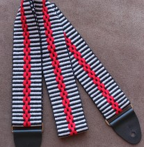 red chain, guitar strap, handmade guitar strap, handwoven guitarstrap, guitarstraps, fancy guitar strap, custom guitarstrap, colorful guitar strap, play with color, WeaverGuitarStraps