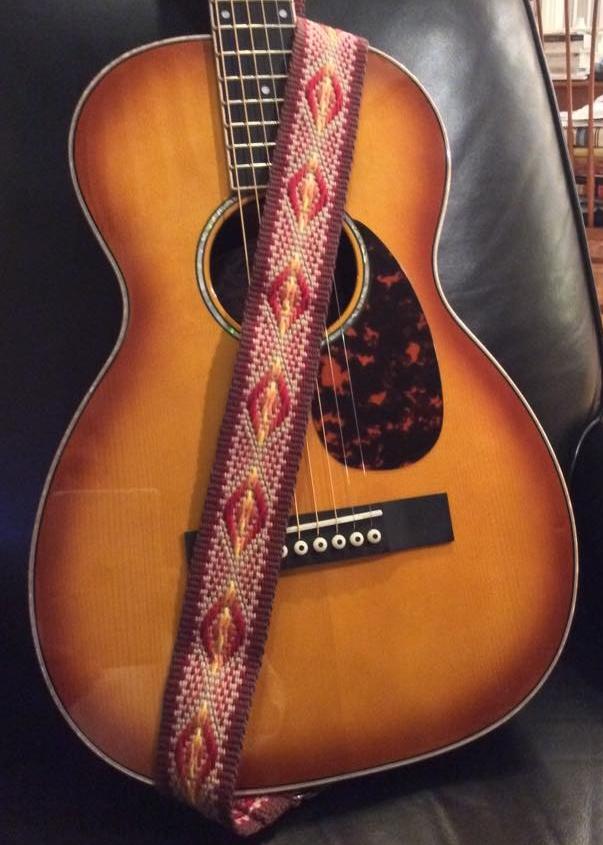 custom guitar strap, handwoven guitar strap, guitar strap, fancy guitar strap, guitar straps, burst pattern