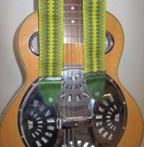 green guitar strap