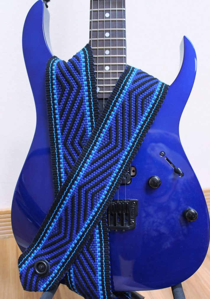 electric blue guitar strap